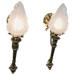 Pair of French Bronze Torchiere Wall Sconces