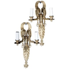 Pair of French Bronze Wall Appliqués or Sconces Empire Style