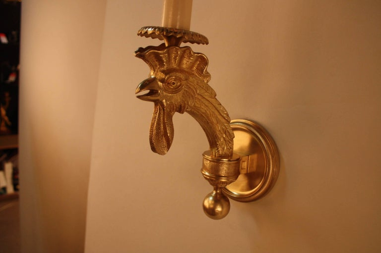 Pair of French Bronze Wall Sconces For Sale 2
