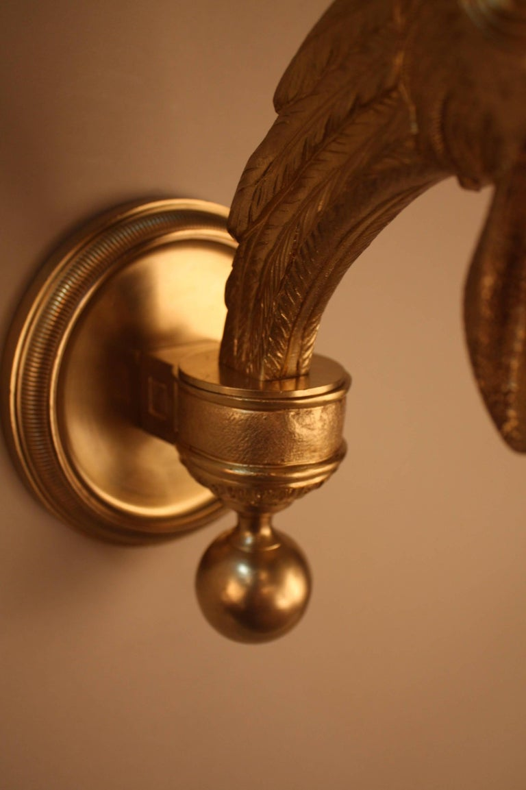 Pair of French Bronze Wall Sconces For Sale 1