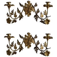 Pair of French Bronze Wall Sconces, Late 19th Century