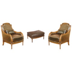 Pair of French Brown Heritage Leather Armchairs and Matching Ottman Footstool