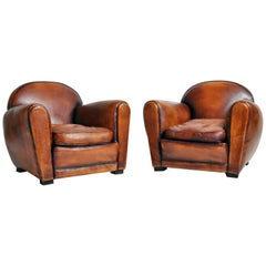 Pair of French Brown Leather Armchairs with Dark Brown Piping