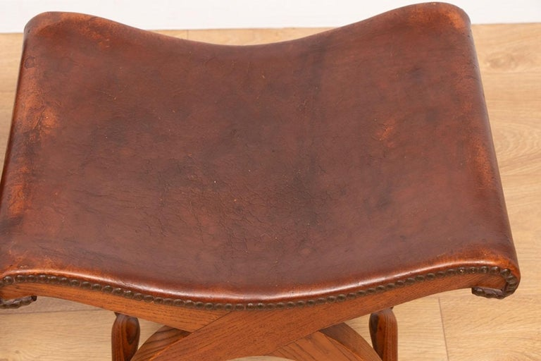 Pair of French Brown Leather Stools by Pierre Lottier for Valenti, circa 1940 In Good Condition For Sale In London, Greenwich