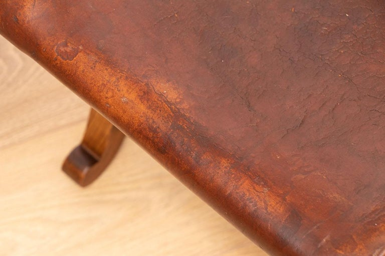 Mid-20th Century Pair of French Brown Leather Stools by Pierre Lottier for Valenti, circa 1940 For Sale