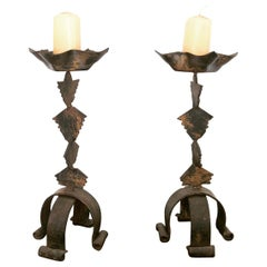 Pair of French Brutalist Forged Iron Candlesticks / Candleholders