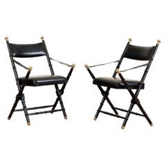 Pair of French Campaign-Style Folding Chairs with Faux-Bamboo Frames