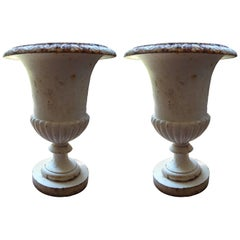 Pair of French Campana Style Iron Garden Urns, circa 1920
