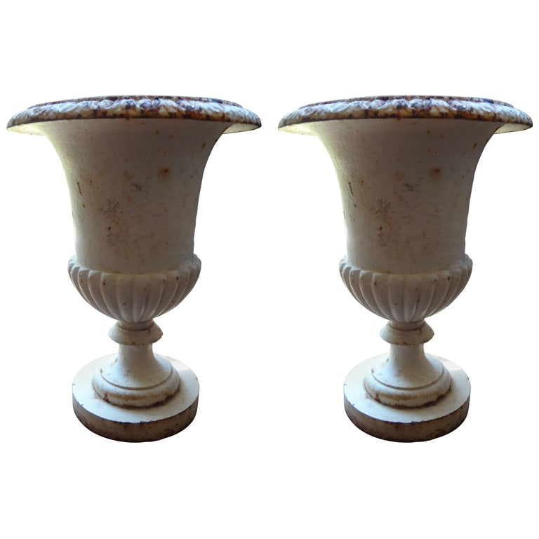 Pair of French Campana Style Iron Garden Urns, circa 1920 For Sale