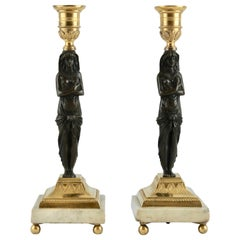 Pair of French Candlesticks, Empire Made ca 1810