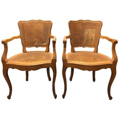 Pair of French Cane Armchairs