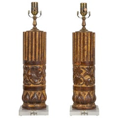 Pair of French Carved and Painted Walnut 19th Century Fragment Made into Lamps