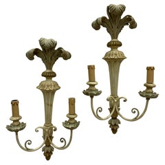 Pair of French Carved and Painted Wood Sconces in Classical Style, circa 1950