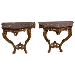 Pair of French Carved and Gilt Rococo Style Marble Top Consoles