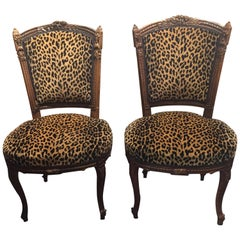 Pair of French Carved Oak Side Chairs with Leopard Pattern Upholstery