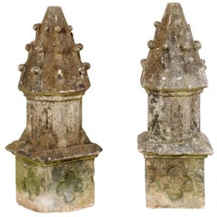Pair of French Carved-Stone Finials Garden Fragments