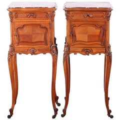 Pair of French Carved Walnut Louis XV Nightstands