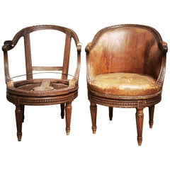 Pair of French Carved Walnut Louis XVI Style Swivel Desk Chair