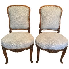 Pair of French Carved Walnut Side Chairs with Cheetah Blue and White Upholstery
