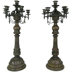 Pair of French Carved Wood and Cast Bronze Candlesticks