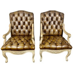 Pair of French Carved Wood Leather Tufted Armchairs