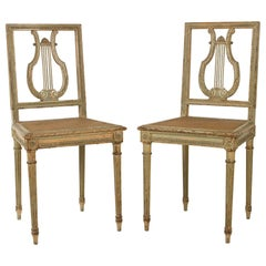 Pair of French Carved Wood Neoclassical Style Side Chairs