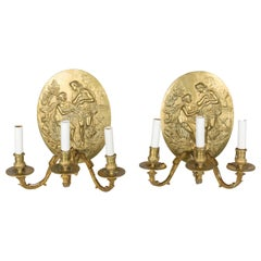 Pair of French Cast Brass Sconces