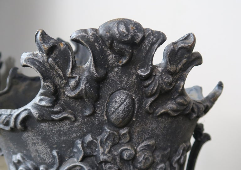 Pair of French Cast Iron Garden Planters, circa 1900 For Sale 5