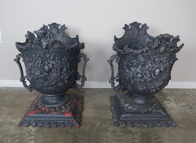 Pair of French Cast Iron Garden Planters, circa 1900 In Distressed Condition For Sale In Los Angeles, CA