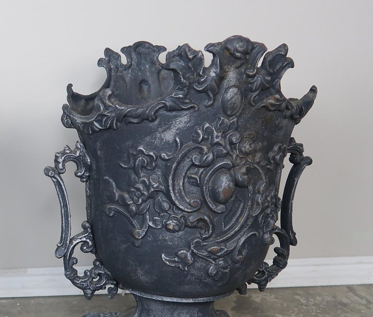 Paint Pair of French Cast Iron Garden Planters, circa 1900 For Sale