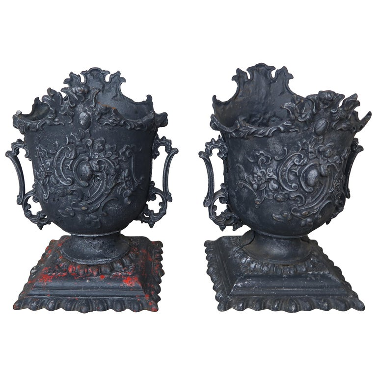 Pair of French Cast Iron Garden Planters, circa 1900 For Sale