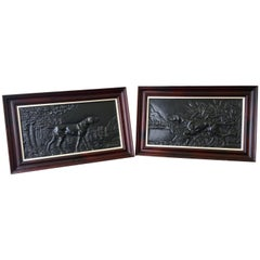 Pair of French Cast Metal Reliefs / Plaques of Hunting Dogs, circa 1910
