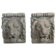 Pair of French Cast Stone Lion Head Wall Hangings