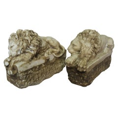 Pair of French Cast Stone Lions, circa 1900