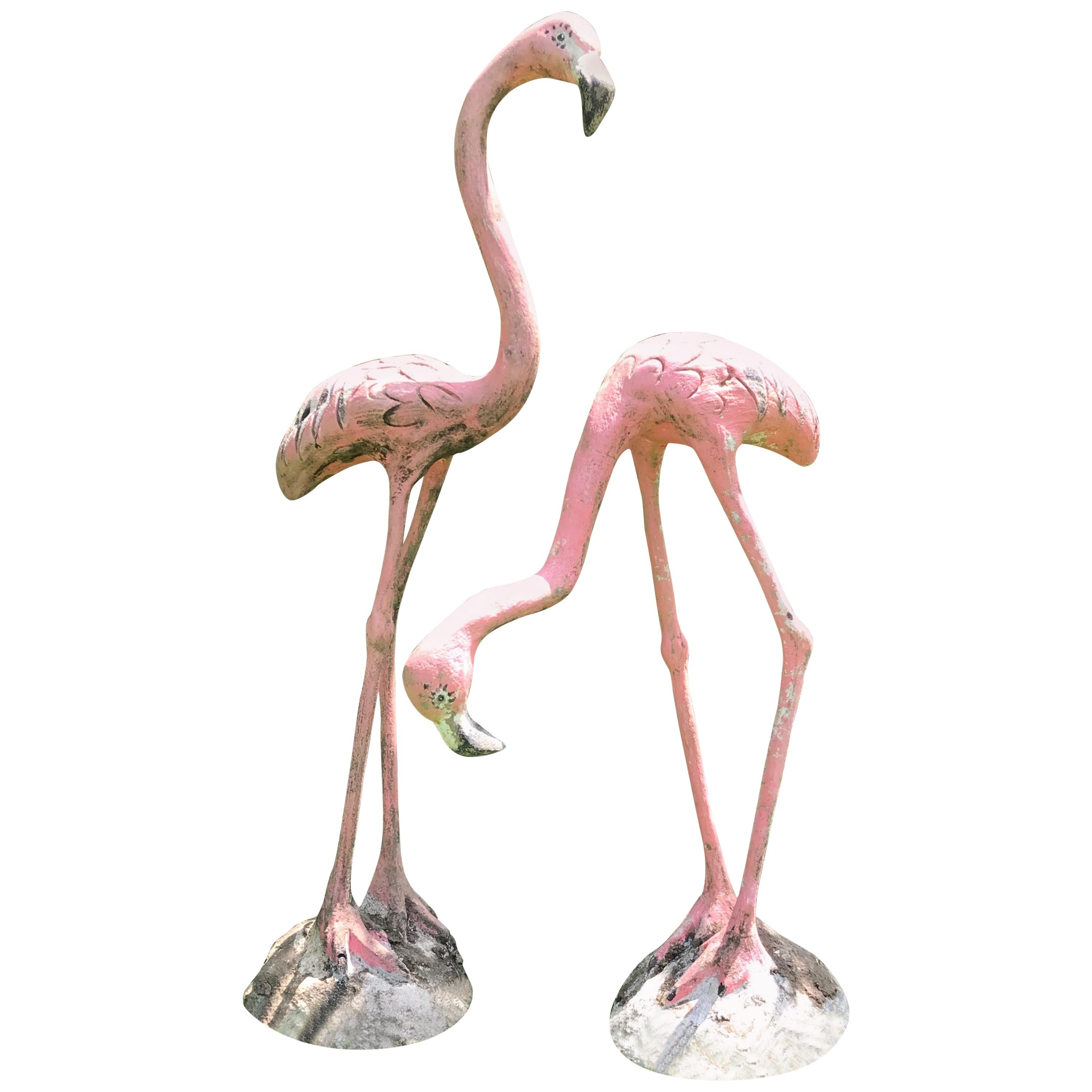 Pair of French Cast Stone Pink Flamingos, circa 1960s