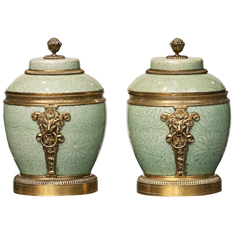 Pair of French Celadon Porcelain Lided Vases For Sale