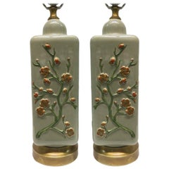 Pair of French Celadon Table Lamps