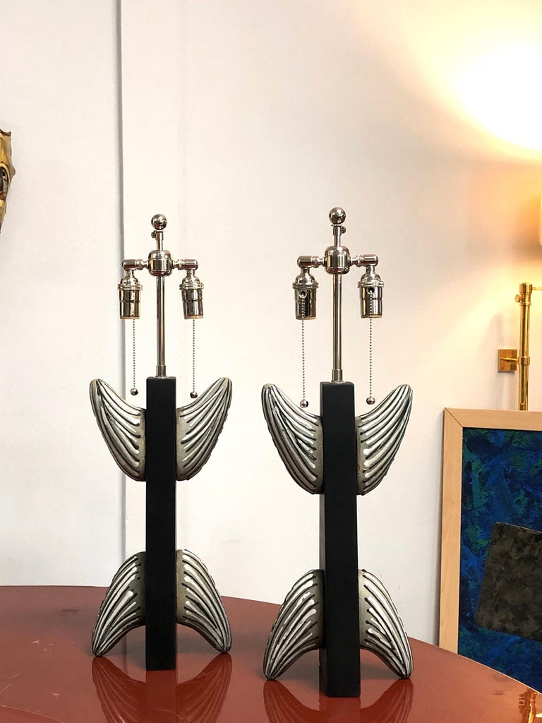 Pair of French Ceramic and Wood Table Lamps, 1950s For Sale 3