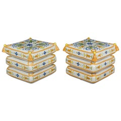 Pair of French Ceramic Garden Stools