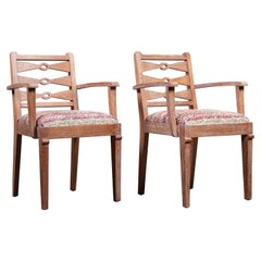 Pair of French Cerused Oak Armchairs