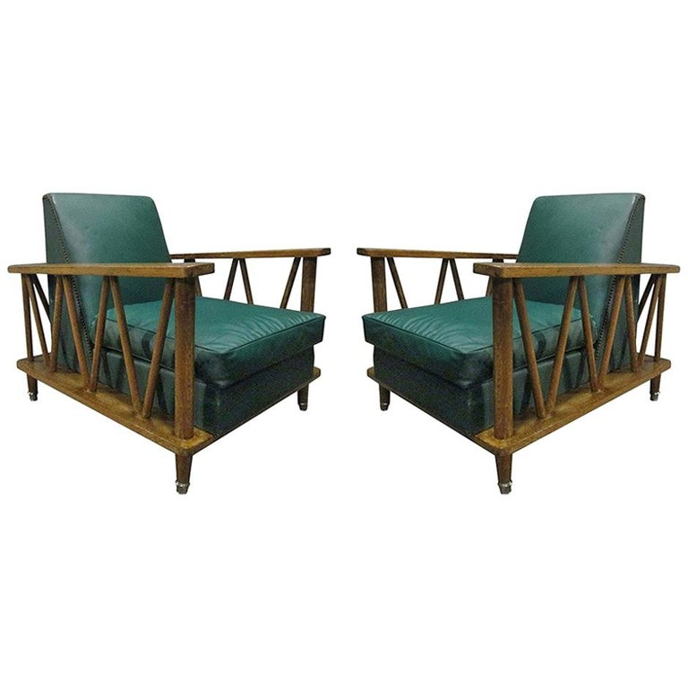 Pair of French cerused-oak lounge chairs, 1950s, offered by Flavor