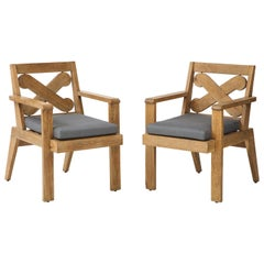 Pair of French Cerused Oak X Armchairs with Blue Steel Colored Linen circa 1960s