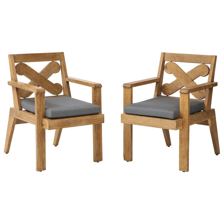 Pair of French Cerused Oak X Armchairs with Blue Steel Colored Linen circa 1960s For Sale