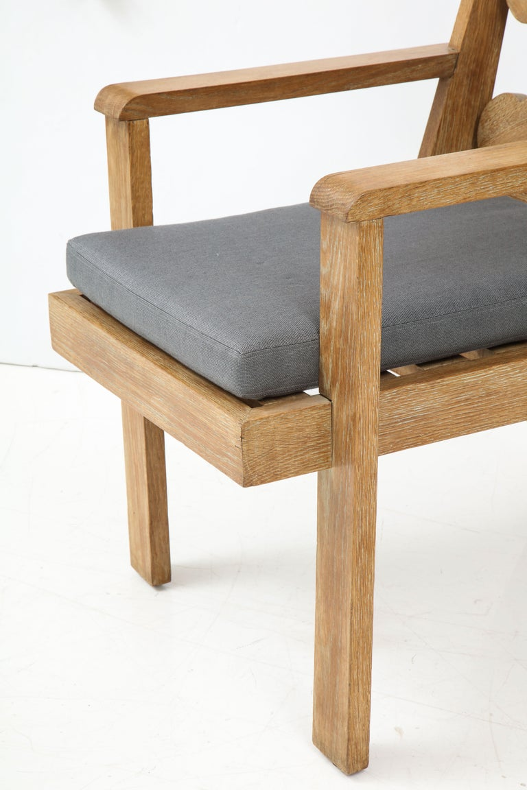 Pair of French Cerused Oak X Armchairs with Blue Steel Colored Linen circa 1960s For Sale 6