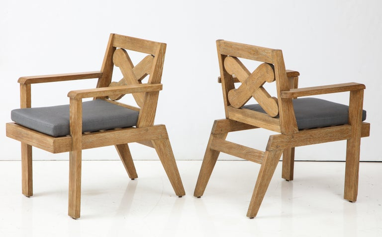 Pair of French Cerused Oak X Armchairs with Blue Steel Colored Linen circa 1960s In Excellent Condition For Sale In New York City, NY