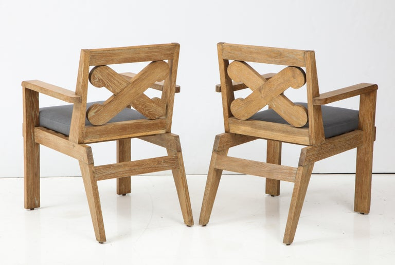 Mid-20th Century Pair of French Cerused Oak X Armchairs with Blue Steel Colored Linen circa 1960s For Sale