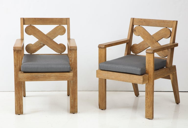 Pair of French Cerused Oak X Armchairs with Blue Steel Colored Linen circa 1960s For Sale 1