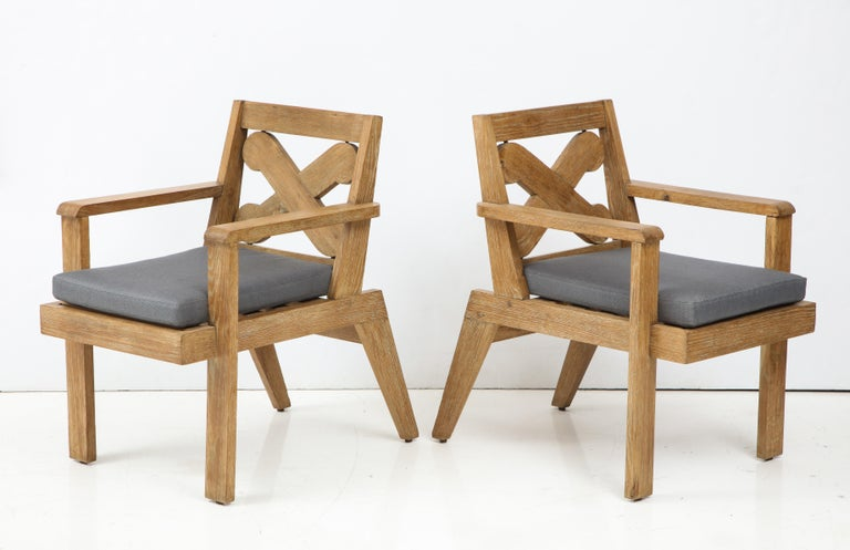 Pair of French Cerused Oak X Armchairs with Blue Steel Colored Linen circa 1960s For Sale 2