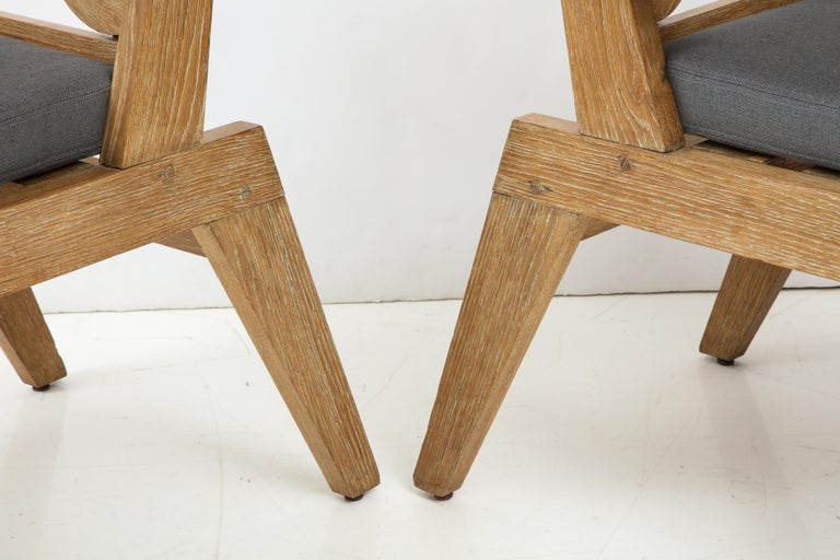 Pair of French Cerused Oak X Armchairs with Blue Steel Colored Linen circa 1960s For Sale 3