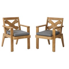 Pair of French Cerused Oak X Armchairs with Blue Steel Colored Linen Upholstery